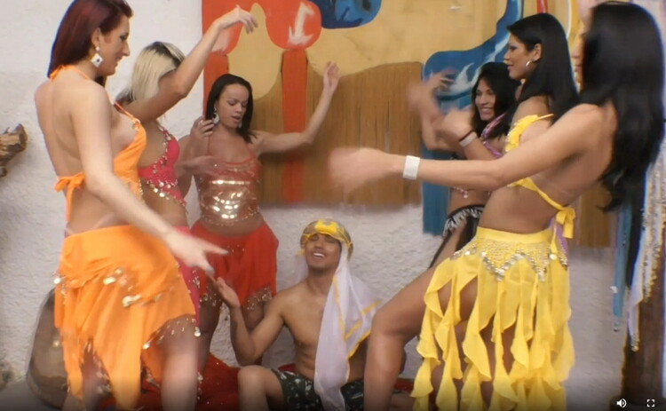 Tranny/TrannyGangbanged - Unknown - Six Gorgeous Belly Dancing Trannies VS. One Lucky Guy [HD 720p]